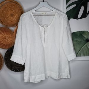 Eileen Fisher White Linen Beaded Embelished Top S